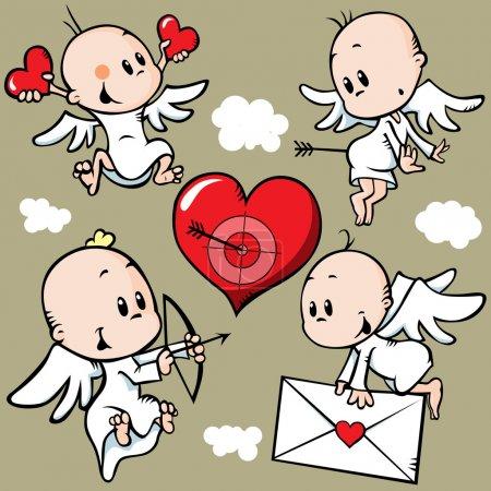 Illustration pour Anges mignons avec coeur Saint-Valentin - image libre de droit