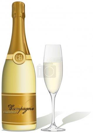 Illustration pour Verre de champagne et bouteille - illustration vectorielle - image libre de droit