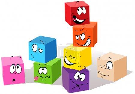 Illustration pour Cubes colorés enfantins avec des visages - image libre de droit
