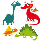 Dragon dinosaur and lizard on white background