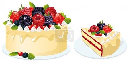 Illustration pour Gâteau aux fruits sur fond blanc - image libre de droit