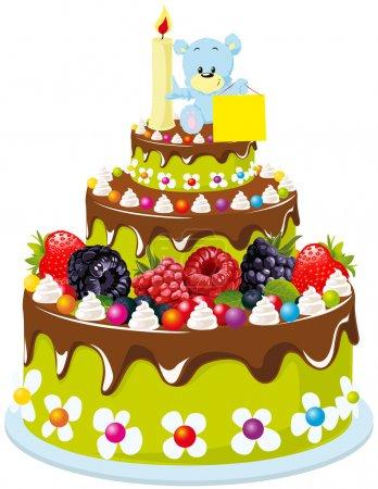 Ilustración de Pastel de cumpleaños para el bebé - Imagen libre de derechos