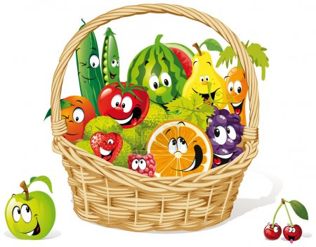 Illustration for Basket of happy fruit and vegetable - Royalty Free Image