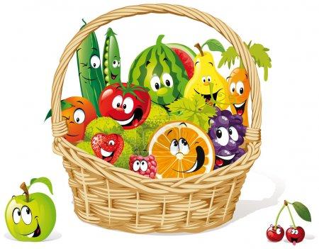 Illustration pour Panier de fruits et légumes heureux - image libre de droit
