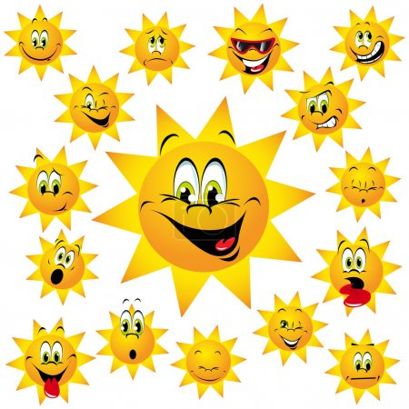 Illustration for Happy sun with many expressions - Royalty Free Image