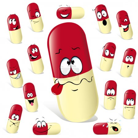 Photo pour Pilule dessin animé avec de nombreuses expressions - image libre de droit