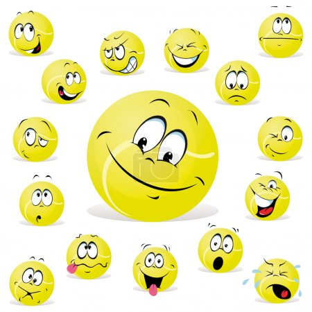 Illustration for Tennis ball with many expression - Royalty Free Image