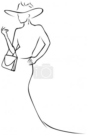 Illustration for Black lines woman in hat - Royalty Free Image