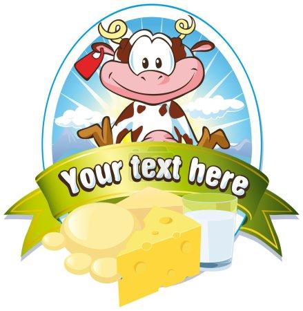 Illustration pour Étiquette lait avec vache mignonne - image libre de droit