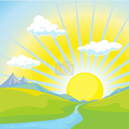 Illustration for Sun rise over landscape and mountains - Royalty Free Image