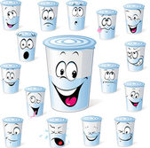 dairy product in plastic cup - funny cartoon with many facial expressions isolated on white dairy yogurt in plastic cup