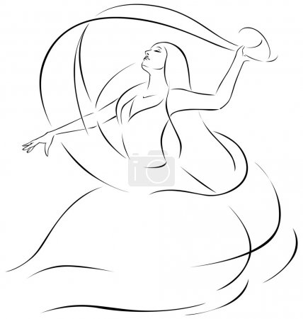 belly dancer illustration - black outline