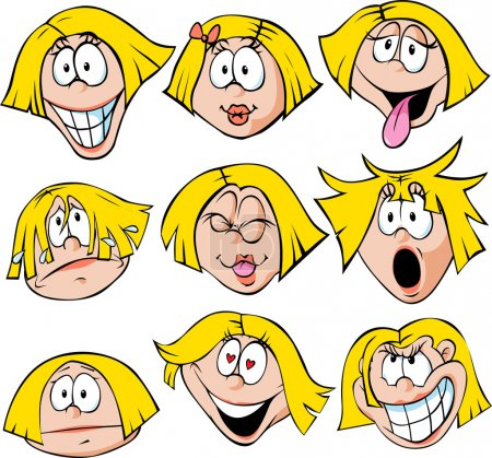 Woman emotions - illustration of woman with many facial expressions