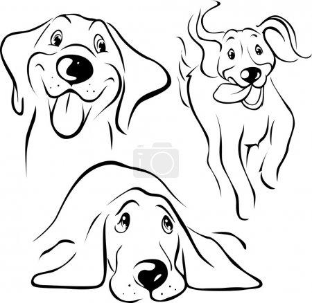 Illustration pour Illustration chien - ligne noire sur fond blanc - image libre de droit