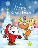Merry Christmas greeting card, funny santa claus and reindeer vector illustration