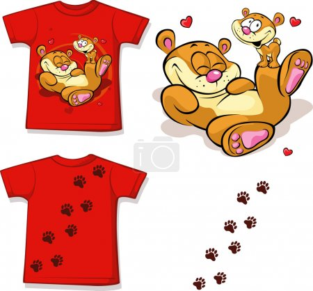 kid shirt with cute bear printed - isolated on white, back and front view