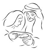 Christmas nativity scene with holy family - baby Jesus virgin Mary and Joseph (vector illustration)