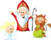 St. Nicholas, Teufel und Engel - Vektor-Illustration isoliert auf weißem Hintergrund
