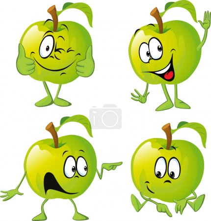 green apple cartoon with hand