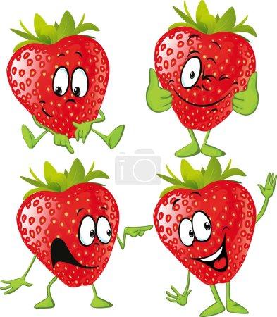 Illustration pour Dessin animé fraise avec les mains isolées sur fond blanc - image libre de droit