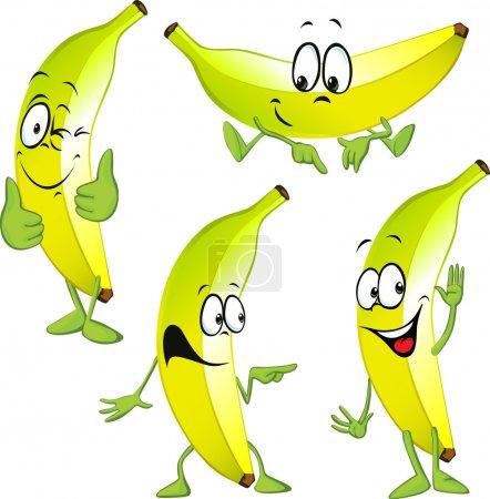 Illustration for Banana cartoon isolated on white background - Royalty Free Image