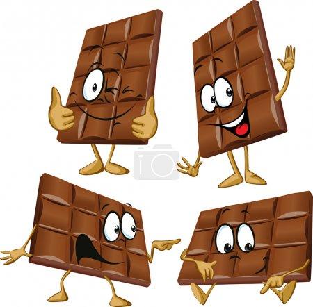 Illustration pour Dessin animé au chocolat avec geste à la main - image libre de droit