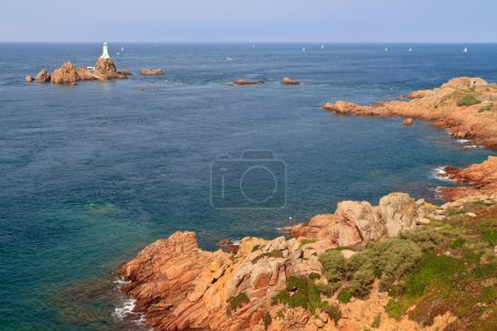 Corbiere Lighthouse and Rocky Coast, Jersey, The Channel Islands