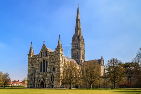 Salisbury Cathedral Front view and park on sunny d...