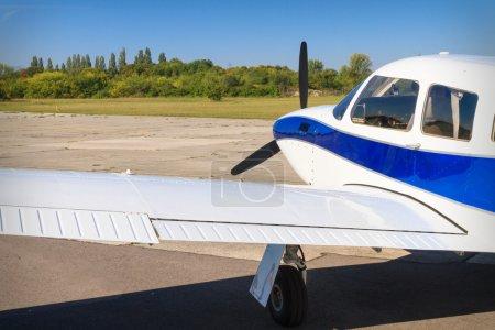 Propeller air plane on runway