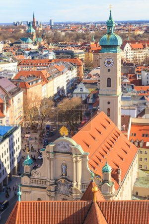 Munich Panorama with old city hall, Holy Spirit Church and Viktu