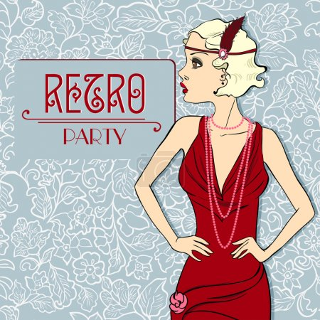 The Vector invitation on Fashionable a retro Party. Beautiful Vintage Girl