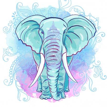 Illustration pour Éléphant décoratif vectoriel sur la fente aquarelle - image libre de droit