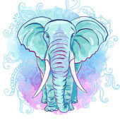 Vector Decorative Elephant on the Watercolor Blot