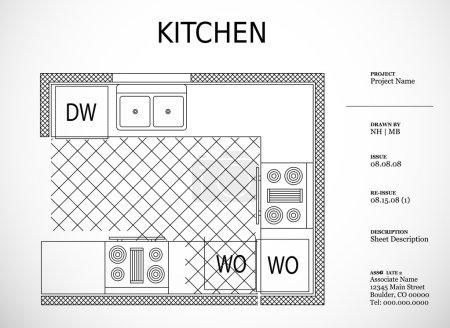 Architectural kitchen plan