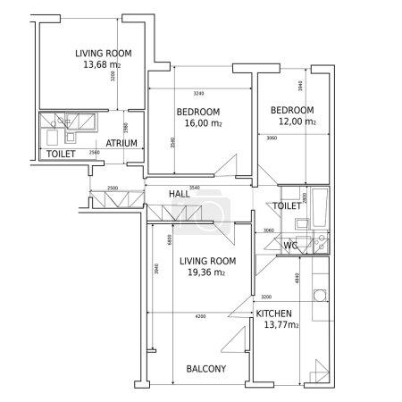 Illustration pour Plan vectoriel hause du bâtiment dessin - image libre de droit