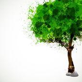 Season tree with green leaves, easy all editable