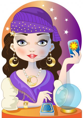 Illustration for A beautiful gypsy reads the future in the tarot - Royalty Free Image