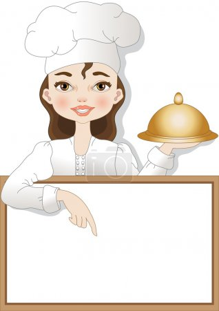 Illustration pour Un chef avec enseigne pour écrire du texte ou un menu - image libre de droit