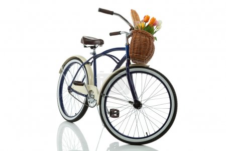 beach cruiser with basket isolated on