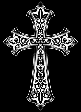 Photo for Fully editable vector illustration (editable EPS) of antique christian cross in white on isolated black background, image suitable for design elements, logo, crest, emblem, insignia or coat of arms - Royalty Free Image