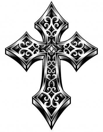 Illustration for Fully editable vector illustration (editable EPS) of ornate celtic cross in black on isolated white background, image suitable for logo, crest, design elements, coat of arms, or tattoo design - Royalty Free Image