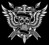 Fully editable vector illustration of winged skull with sword and arrows image suitable for emblem insignia crest badge tattoo or tribal