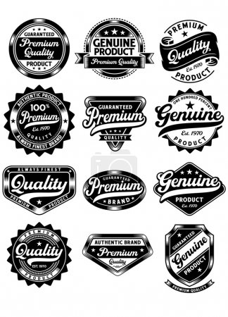 Illustration for Fully editable vector illustration (editable EPS) of premium quality and genuine vintage labels on isolated white background, image suitable for design element of stamp, seal or product labels - Royalty Free Image