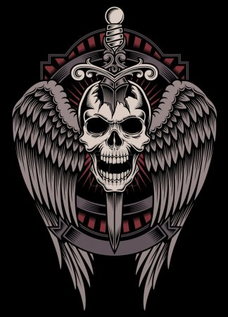 Illustration for Fully editable vector illustration (editable EPS) of winged skull with sword stuck on isolated black background, image suitable for crest, emblem, insignia, t-shirt design or tattoo - Royalty Free Image
