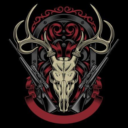 Illustration pour Illustration vectorielle entièrement modifiable du crâne de cerf avec fusil sur fond noir isolé, image adaptée à la conception d'emblème, d'insigne, de crête, de tatouage ou de t-shirt - image libre de droit