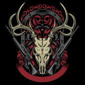 Fully editable vector illustration of deer skull with rifle on isolated black background image suitable for emblem insignia crest tattoo or t-shirt design