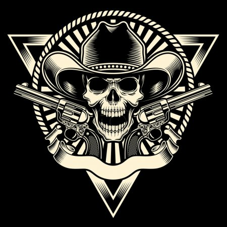Illustration for Fully editable vector illustration of cowboy skull with revolver on isolated black background, image suitable for emblem, insignia, badge, crest, tattoo or t-shirt design - Royalty Free Image