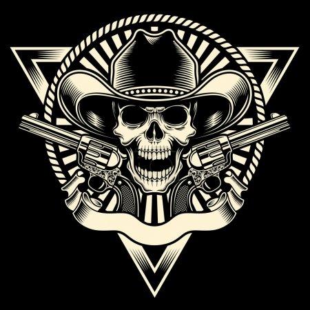 Photo pour Illustration vectorielle entièrement modifiable de crâne de cow-boy avec un revolver sur fond noir isolé, image adapté pour emblème, insigne, insigne, écusson, tatouage ou t-shirt design - image libre de droit