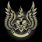 Fully editable vector illustration (editable EPS) of winged burning heart isolated on black background image suitable for crest emblem insignia t-shirt design or tattoo
