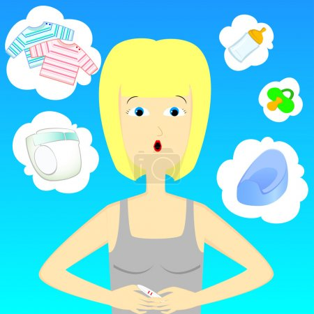 Illustration for Woman thinking adbout baby with pregnancy test - Royalty Free Image